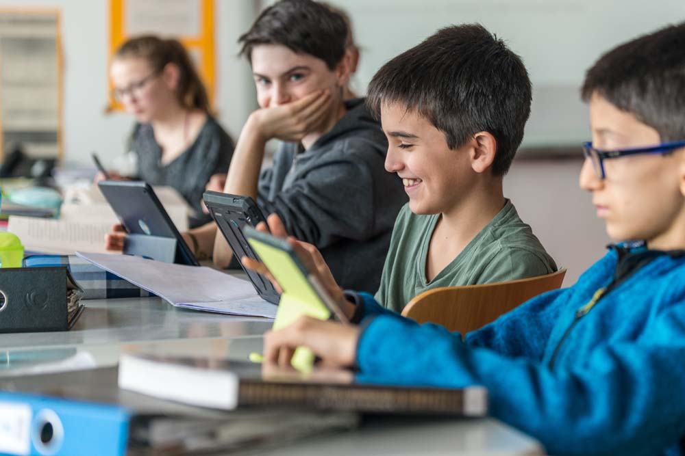 Children using iPads at the Franconian International School